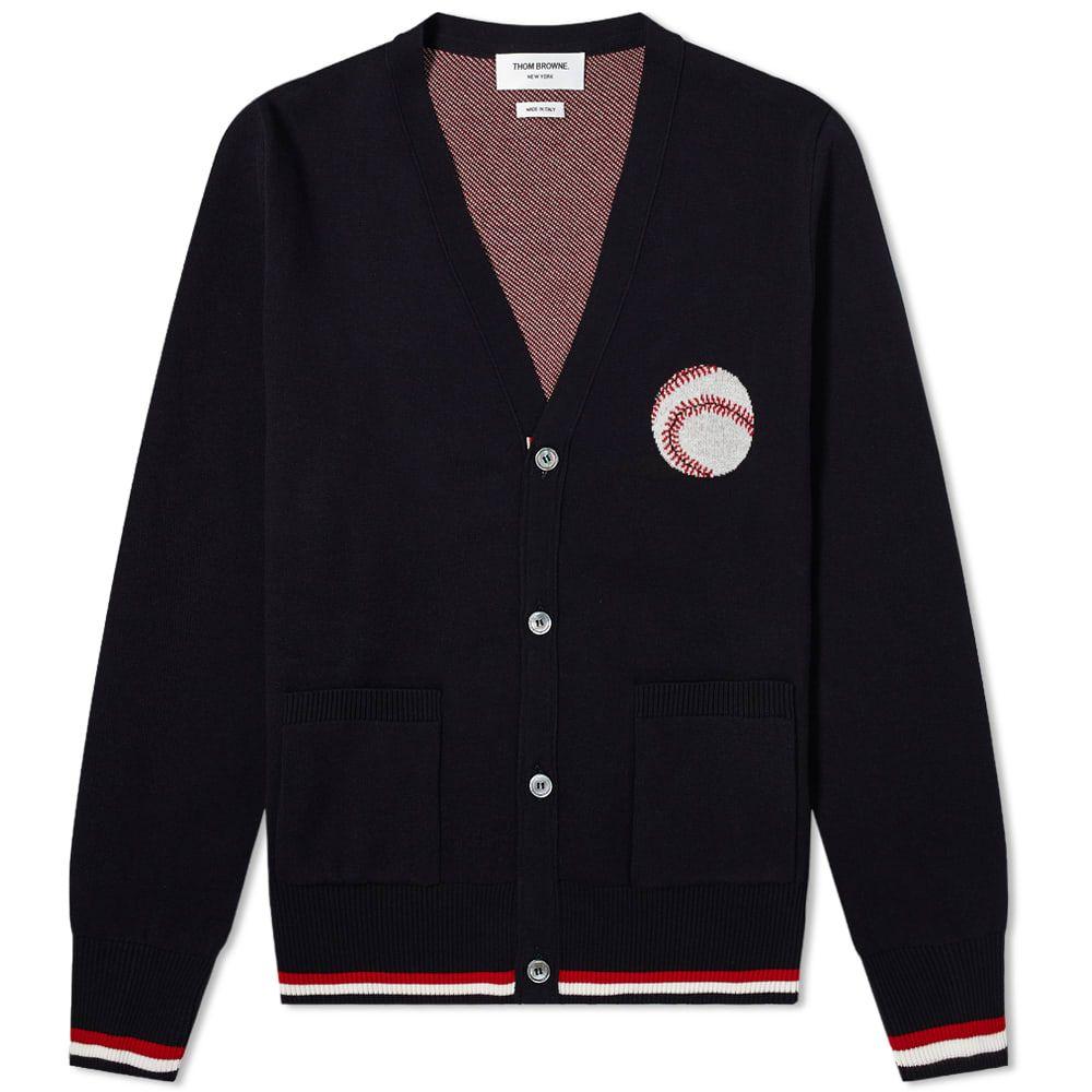 トム ブラウン Thom Browne メンズ カーディガン トップス【Baseball Icon Jacquard Four Bar Stripe Cardigan】Navy