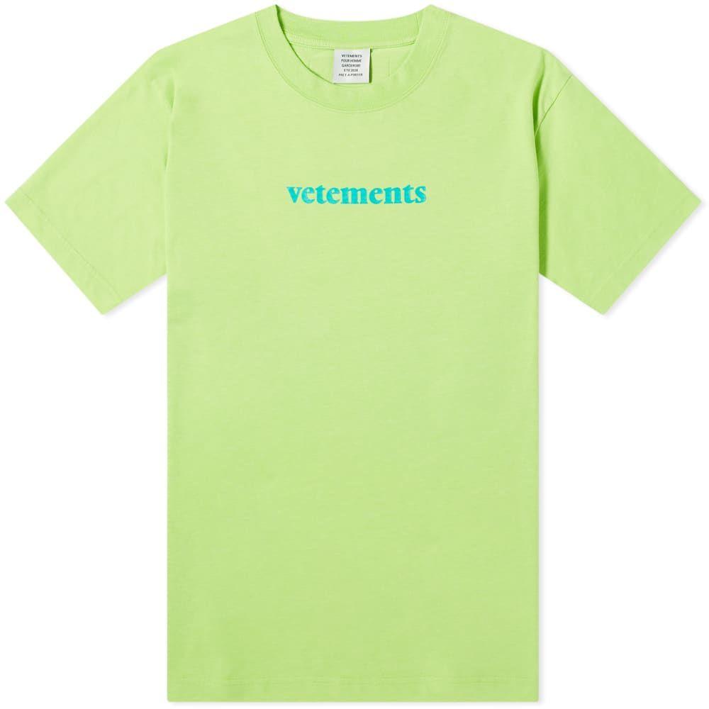 ヴェトモン VETEMENTS メンズ Tシャツ ロゴTシャツ トップス【Logo Tee】Fluro Green
