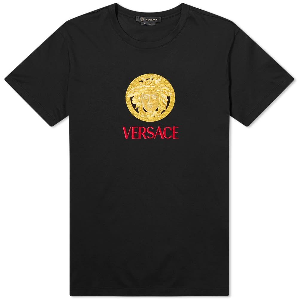 ヴェルサーチ Versace メンズ Tシャツ メデューサ トップス【Embroidered Medusa Tee】Black
