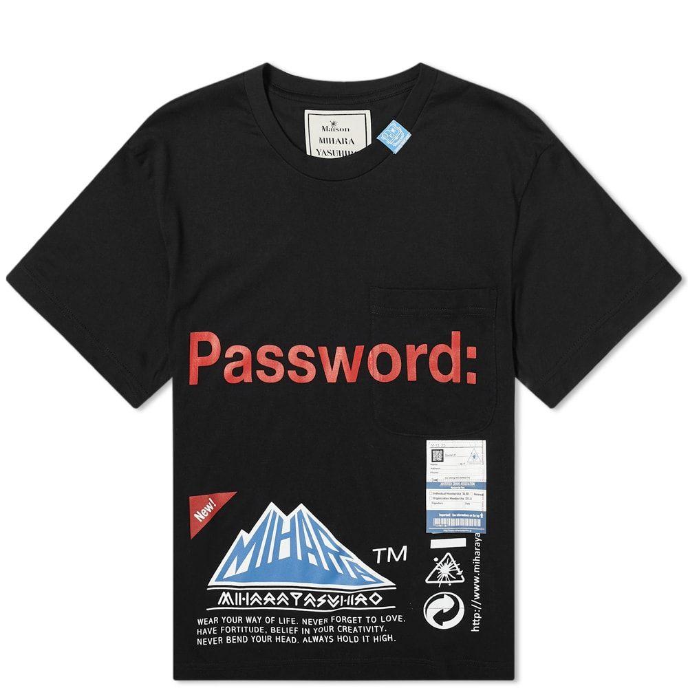 ミハラ ヤスヒロ Maison MIHARA YASUHIRO メンズ Tシャツ ポケット トップス【Password Pocket Tee】Black