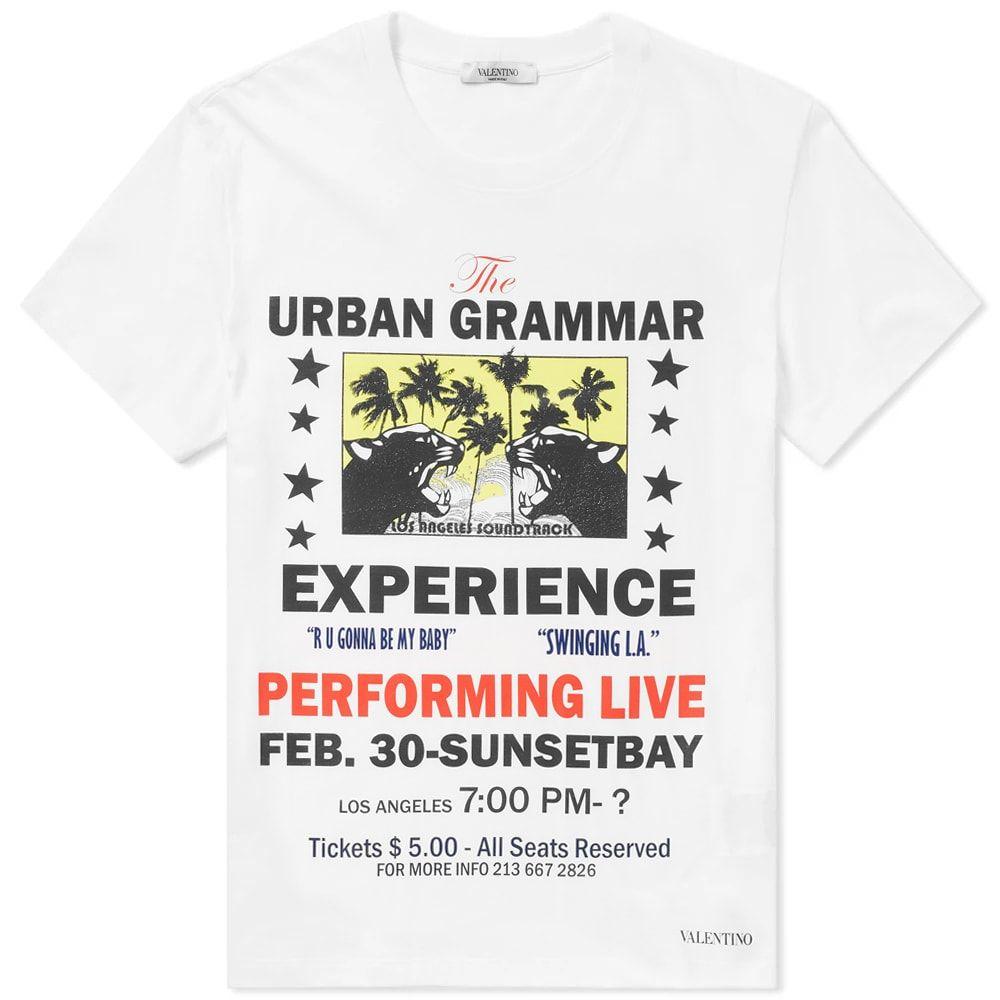 ヴァレンティノ Valentino メンズ Tシャツ トップス【Urban Grammar Print Concert Poster Tee】White
