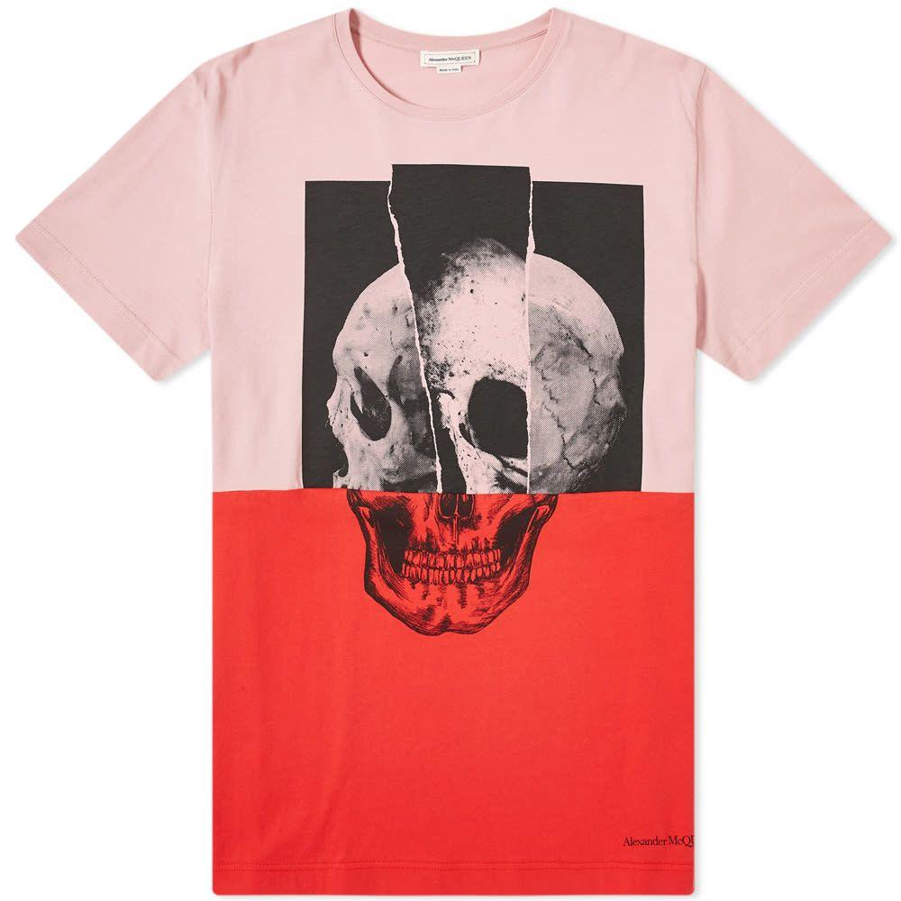 アレキサンダー マックイーン Alexander McQueen メンズ Tシャツ トップス【Cut & Sew Skull Tee】Sugar Pink/Multi