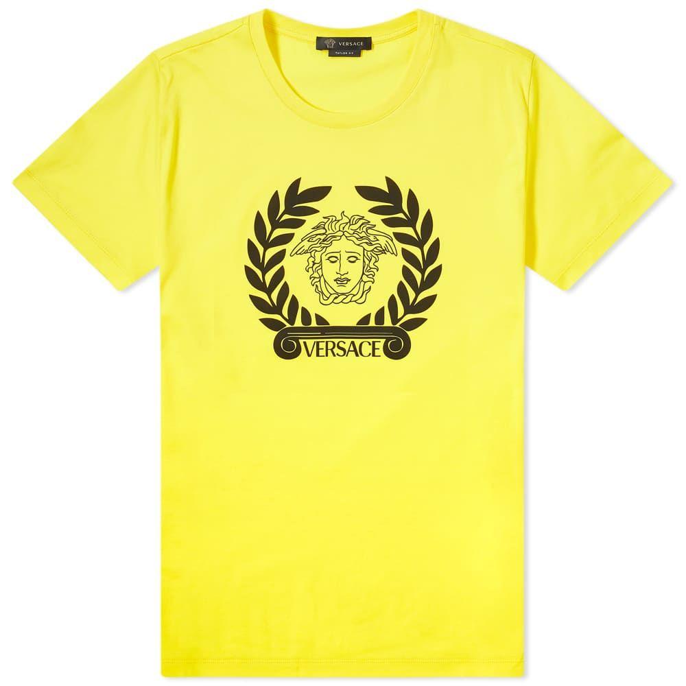 ヴェルサーチ Versace メンズ Tシャツ ロゴTシャツ トップス【Laurel Logo Tee】Lemon Yellow