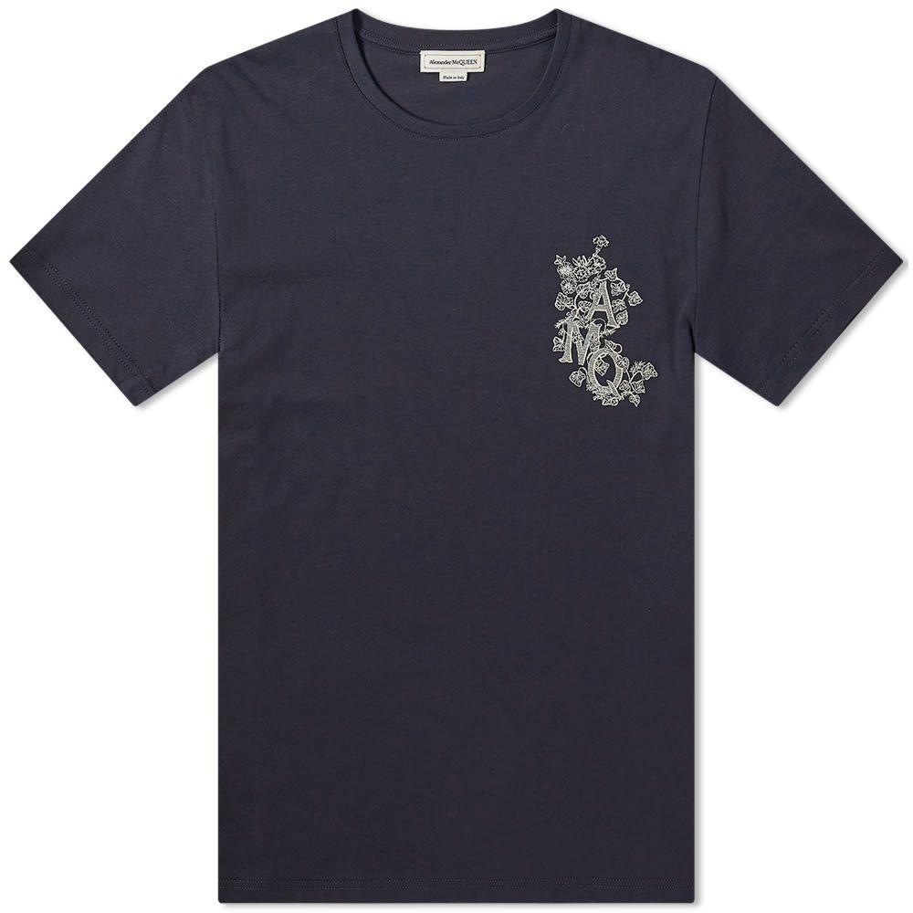 アレキサンダー マックイーン Alexander McQueen メンズ Tシャツ ロゴTシャツ トップス【Embroidered AMQ Logo Tee】Navy
