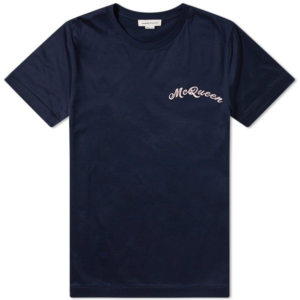 アレキサンダー マックイーン Alexander McQueen メンズ Tシャツ ロゴTシャツ トップス【Chain Stitch Logo Tee】Navy