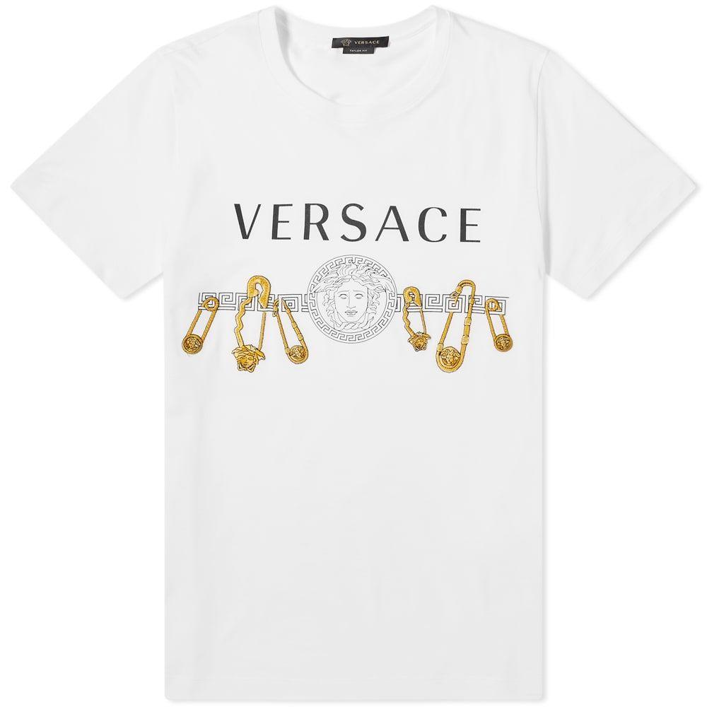 ヴェルサーチ Versace メンズ Tシャツ トップス【Safety Pin Tee】White