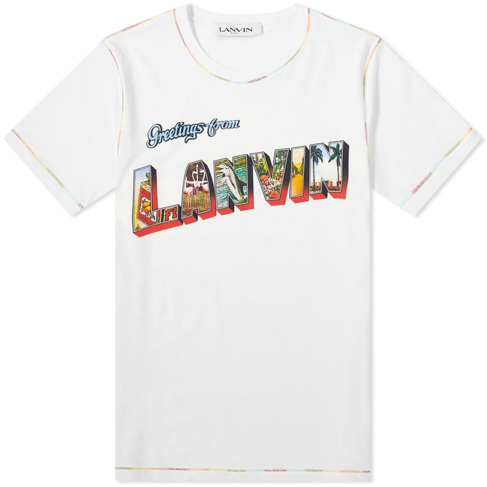 ランバン Lanvin メンズ Tシャツ トップス【Postcard Print Tee】White