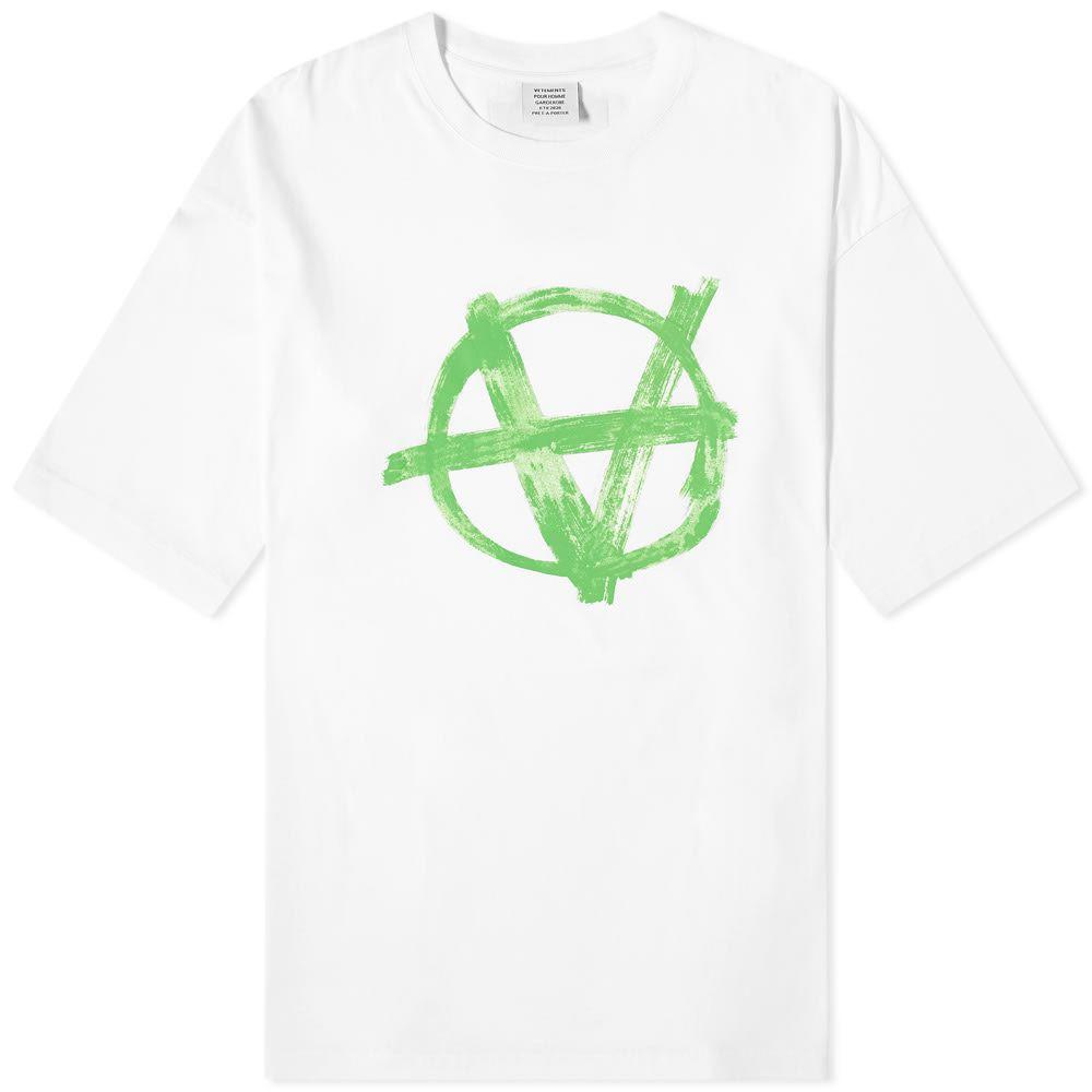 ヴェトモン VETEMENTS メンズ Tシャツ トップス【Oversized Anarchy Tee】White/Green