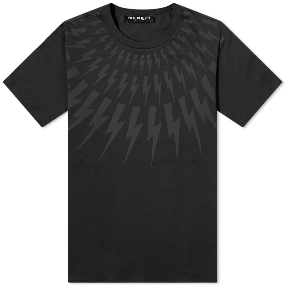 ニール バレット Neil Barrett メンズ Tシャツ トップス【Tonal Fairisle Lightning Bolt Tee】Black