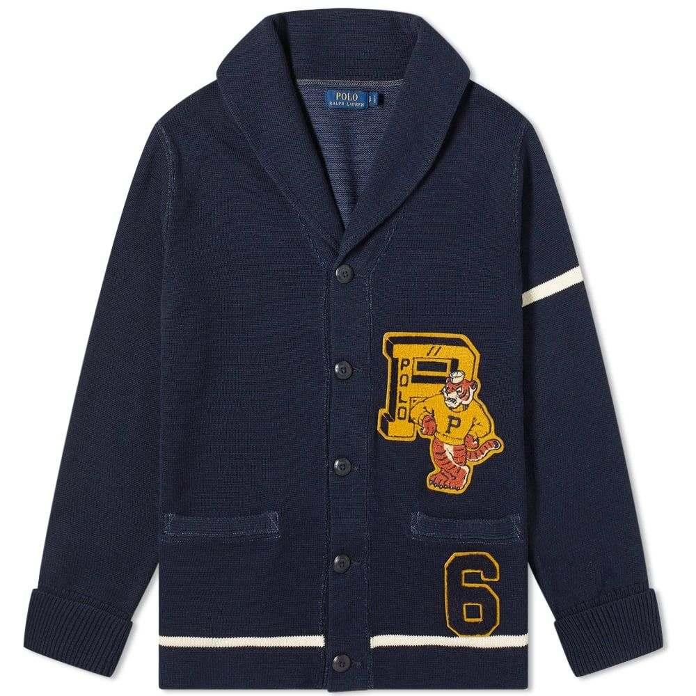 ラルフ ローレン Polo Ralph Lauren メンズ カーディガン トップス【Varsity Knit Cardigan】Hunter Navy/Andover Cream