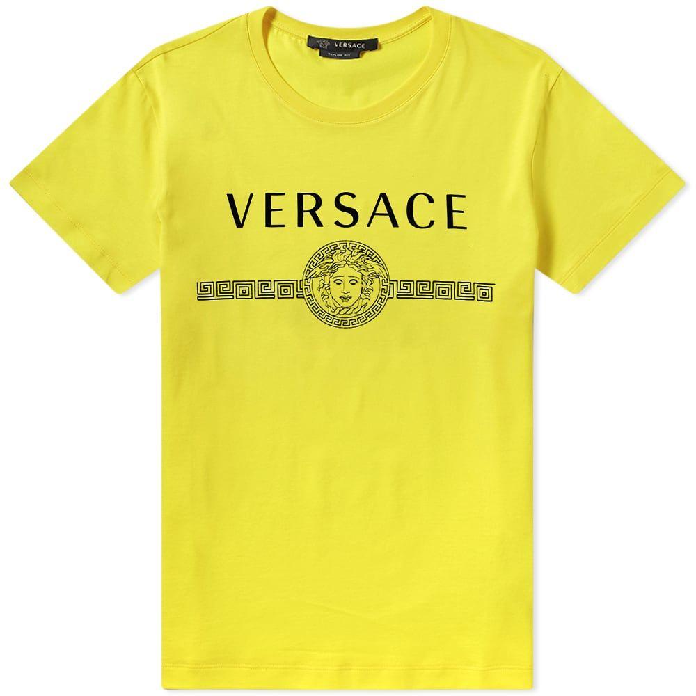 ヴェルサーチ Versace メンズ Tシャツ ロゴTシャツ トップス【Classic Logo Tee】Lemon Yellow