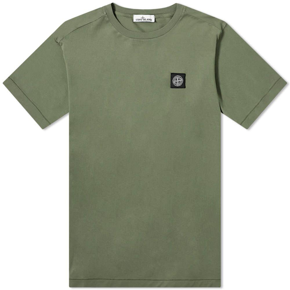 ストーンアイランド Stone Island メンズ Tシャツ ロゴTシャツ トップス【Garment Dyed Patch Logo Tee】Olive