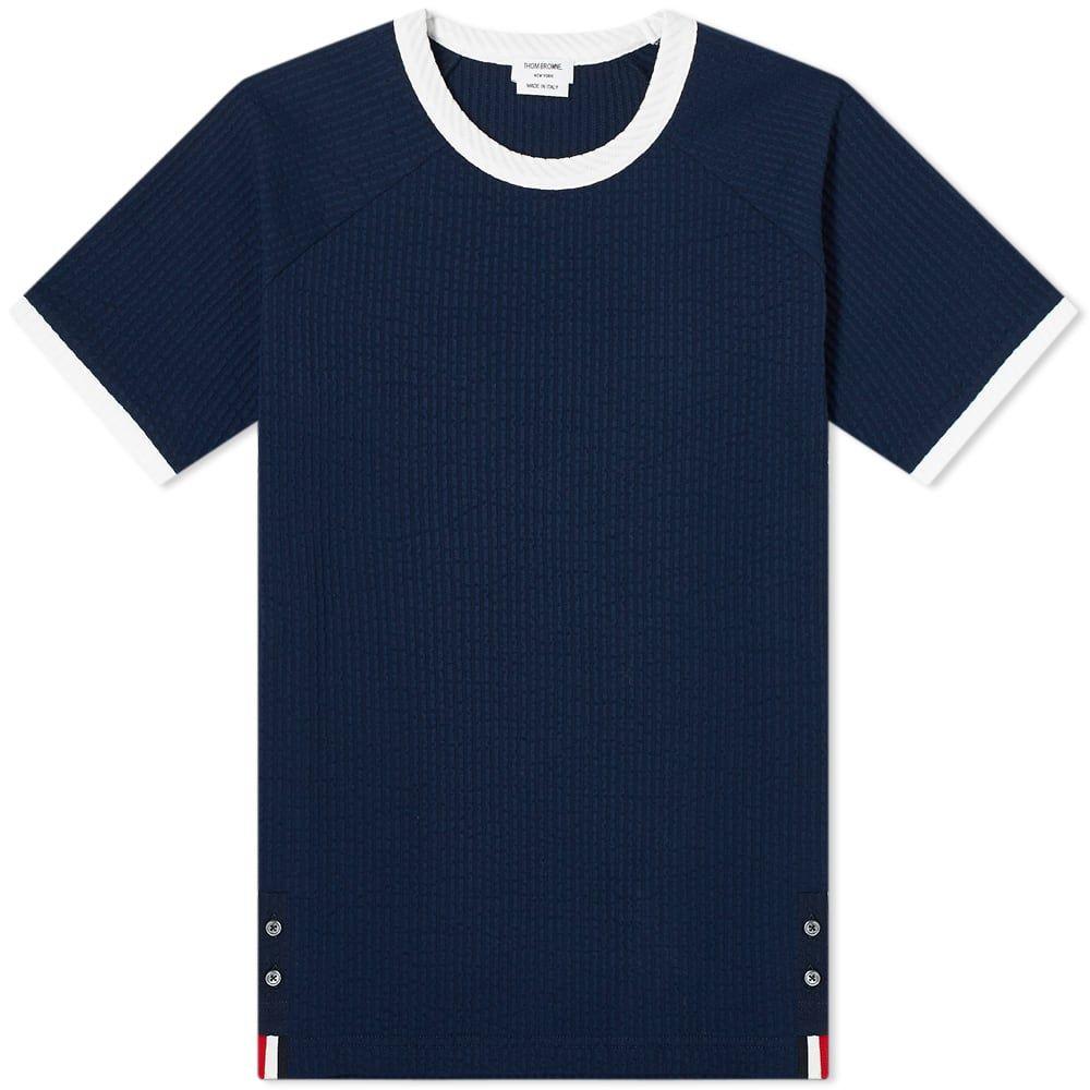 トム ブラウン Thom Browne メンズ Tシャツ トップス【Seersucker Knit Ringer Tee】Navy