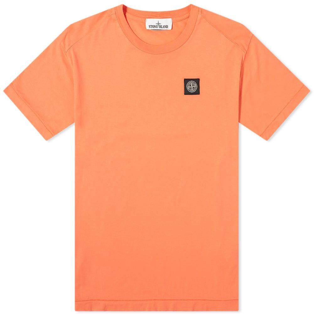 ストーンアイランド Stone Island メンズ Tシャツ ロゴTシャツ トップス【Garment Dyed Patch Logo Tee】Orange Red