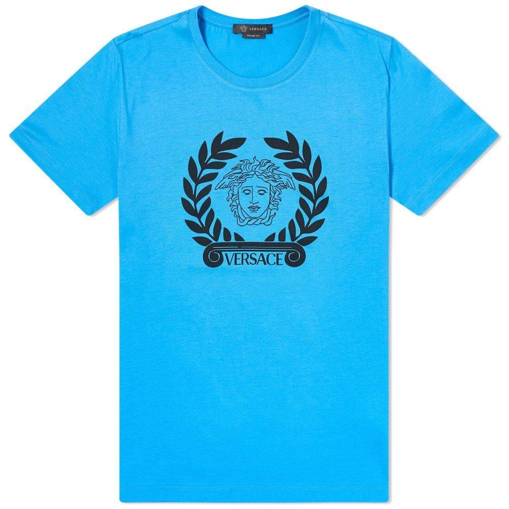 ヴェルサーチ Versace メンズ Tシャツ ロゴTシャツ トップス【Laurel Logo Tee】Blue