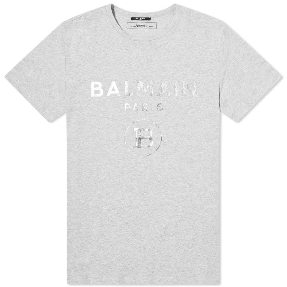 バルマン Balmain メンズ Tシャツ ロゴTシャツ トップス【Foil Logo Tee】Grey Marl/Silver