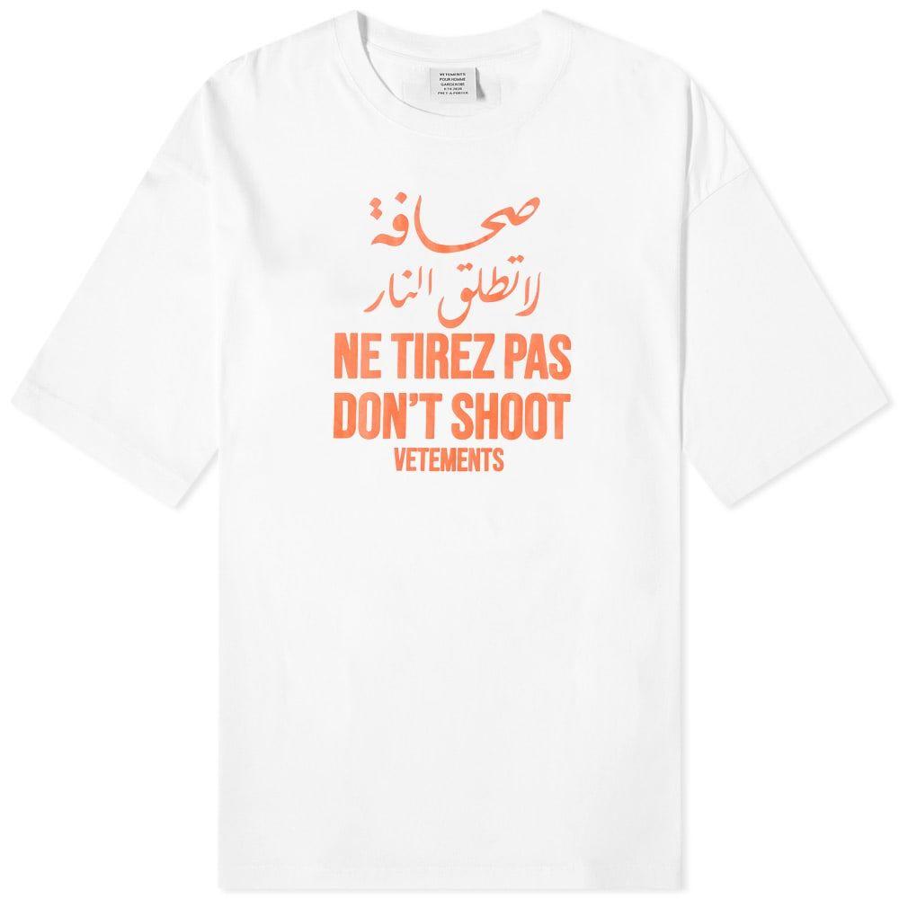 ヴェトモン VETEMENTS メンズ Tシャツ トップス【Don't Shoot Tee】White