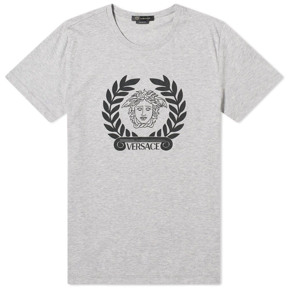 ヴェルサーチ Versace メンズ Tシャツ ロゴTシャツ トップス【Laurel Logo Tee】Grey Melange