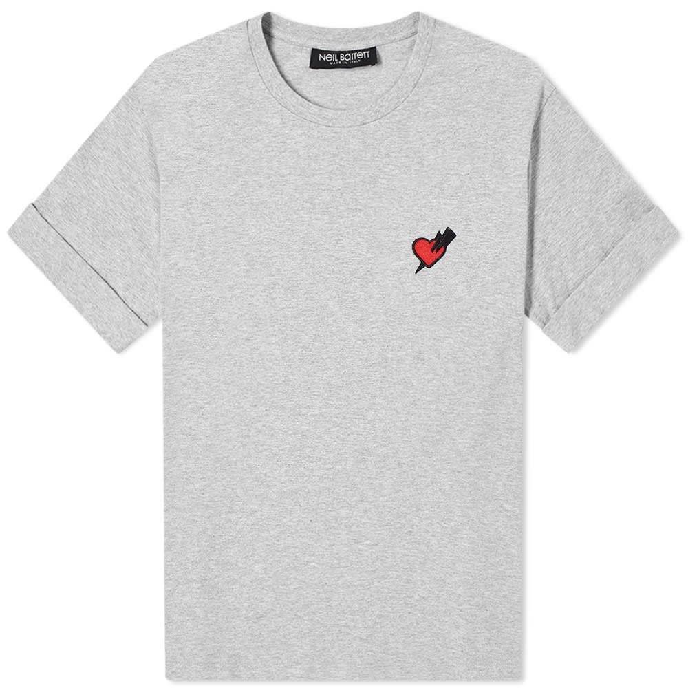 ニール バレット Neil Barrett メンズ Tシャツ トップス【Love Heart Patch Tee】Grey