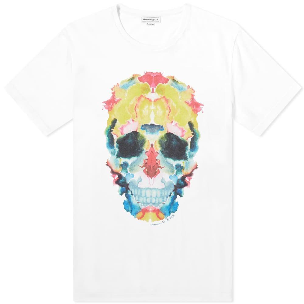 アレキサンダー マックイーン Alexander McQueen メンズ Tシャツ トップス【Ink Blot Skull Tee】White Mix