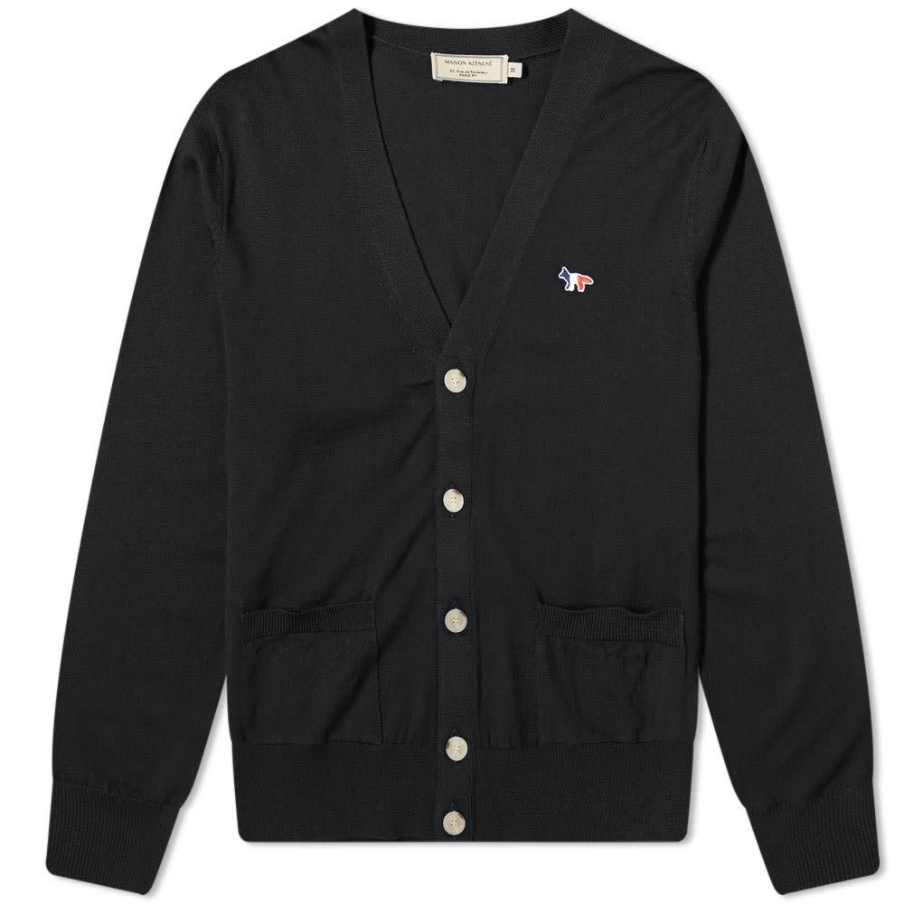 メゾン キツネ Maison Kitsune メンズ カーディガン トリコロール トップス【Tricolour Fox Cardigan】Black