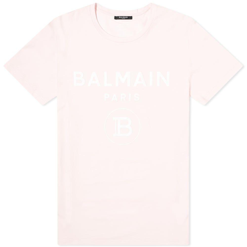 バルマン Balmain メンズ Tシャツ ロゴTシャツ トップス【Flocked Paris Logo Tee】Pink