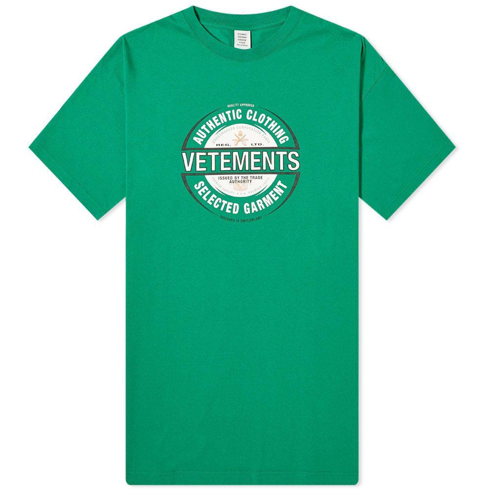 ヴェトモン VETEMENTS メンズ Tシャツ トップス【Beer Badge Tee】Green