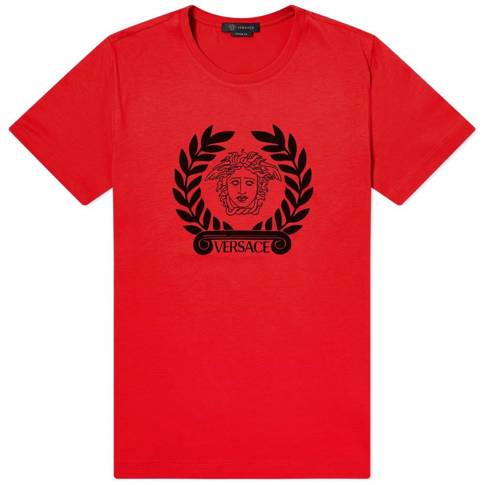 ヴェルサーチ Versace メンズ Tシャツ ロゴTシャツ トップス【Laurel Logo Tee】Red