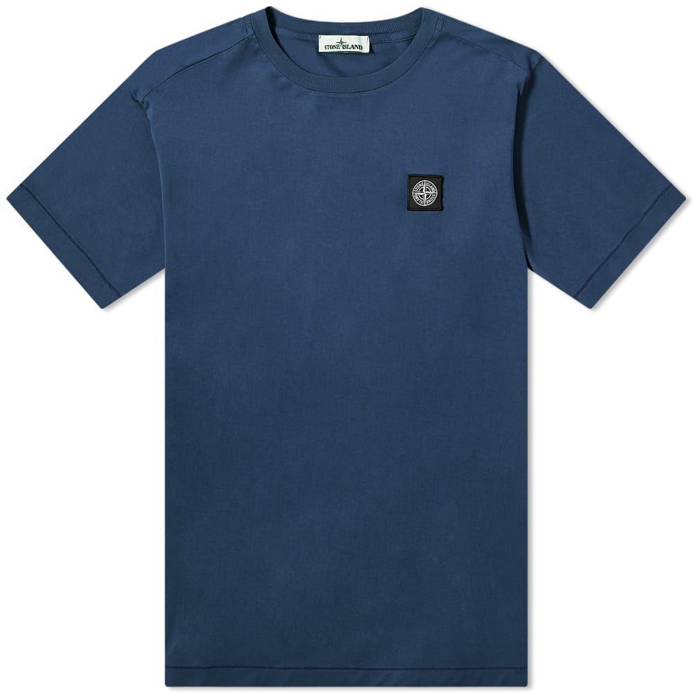 ストーンアイランド Stone Island メンズ Tシャツ ロゴTシャツ トップス【Garment Dyed Patch Logo Tee】Blue Marine