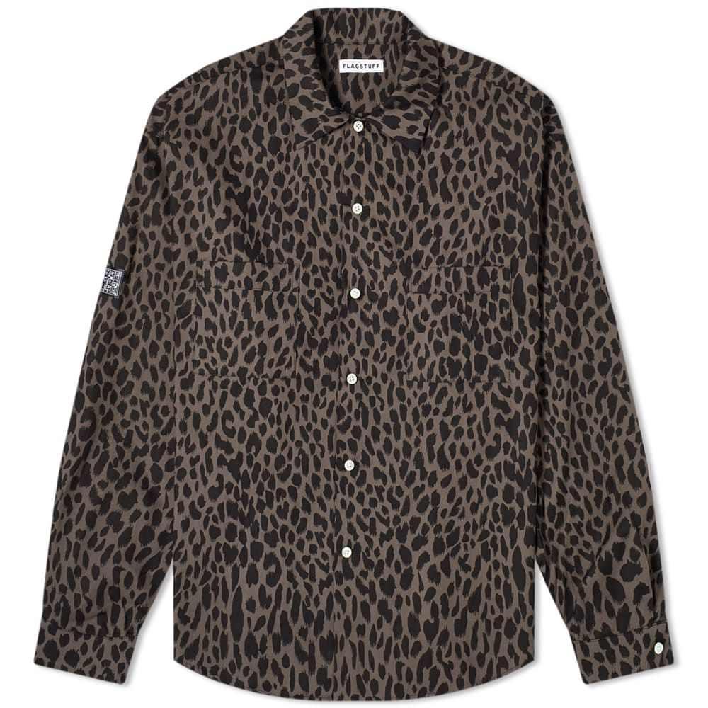 フラグスタフ Flagstuff メンズ シャツ トップス【FLAGSTUFF Leopard Shirt】Grey/Black