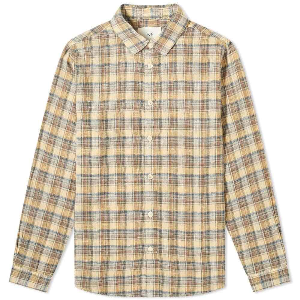 フォーク Folk メンズ シャツ トップス【Checked Shirt】Light Gold Check