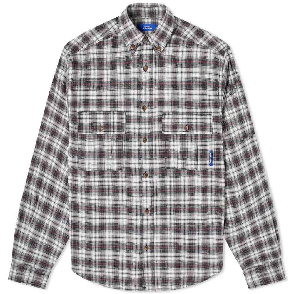 ラスベート PACCBET メンズ シャツ フランネルシャツ トップス【Flannel Shirt】Grey