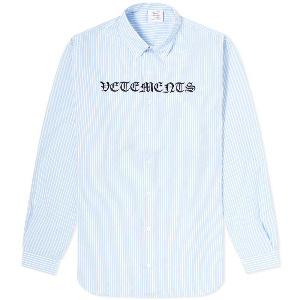 ヴェトモン VETEMENTS メンズ シャツ トップス【Gothic Vetements Shirt】Blue/White