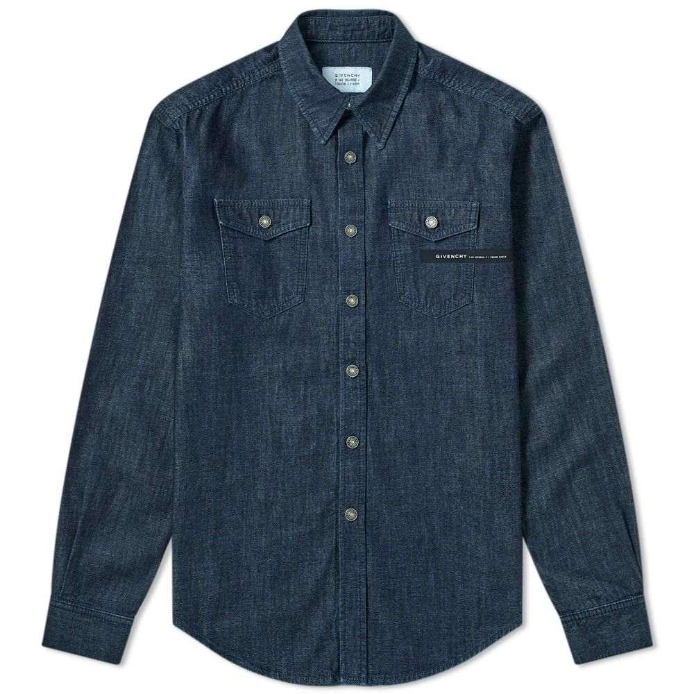 ジバンシー Givenchy メンズ シャツ デニム トップス【Tape Logo Denim Shirt】Indigo