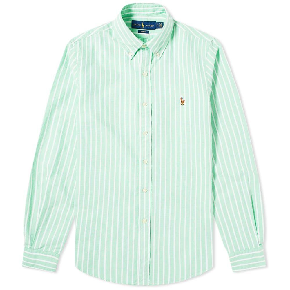 ラルフ ローレン Polo Ralph Lauren メンズ シャツ トップス【Button Down Stripe Oxford Shirt】Green/White