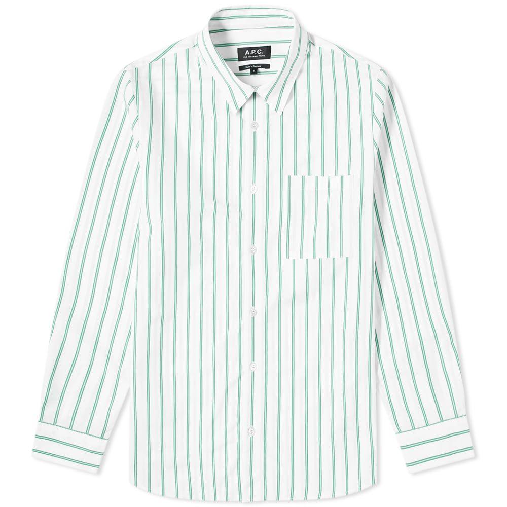 アーペーセー A.P.C. メンズ シャツ トップス【Rami Stripe Shirt】White/Green