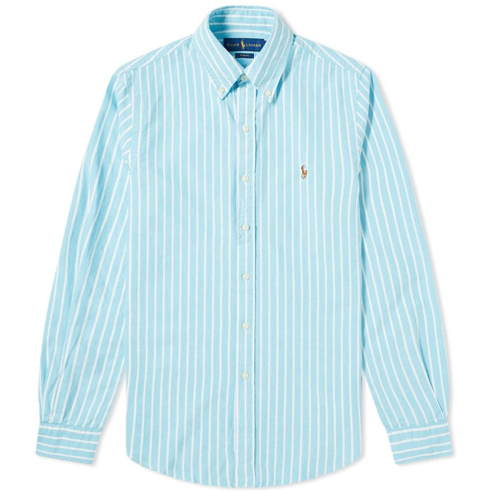 ラルフ ローレン Polo Ralph Lauren メンズ シャツ トップス【Button Down Stripe Oxford Shirt】Light Blue/White