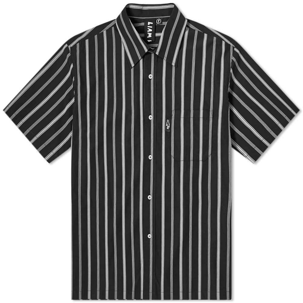 リアムホッジ Liam Hodges メンズ 半袖シャツ トップス【Irregular Stripe Shirt】Black