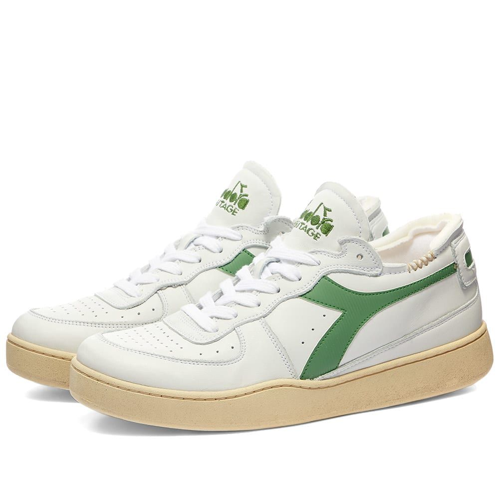 ディアドラ Diadora メンズ スニーカー シューズ・靴【Mi Basket Row Cut】White/Stone Green