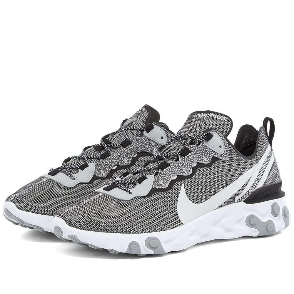 ナイキ Nike メンズ スニーカー シューズ・靴【React Element 55 SE】White/Platinum/Grey/Black