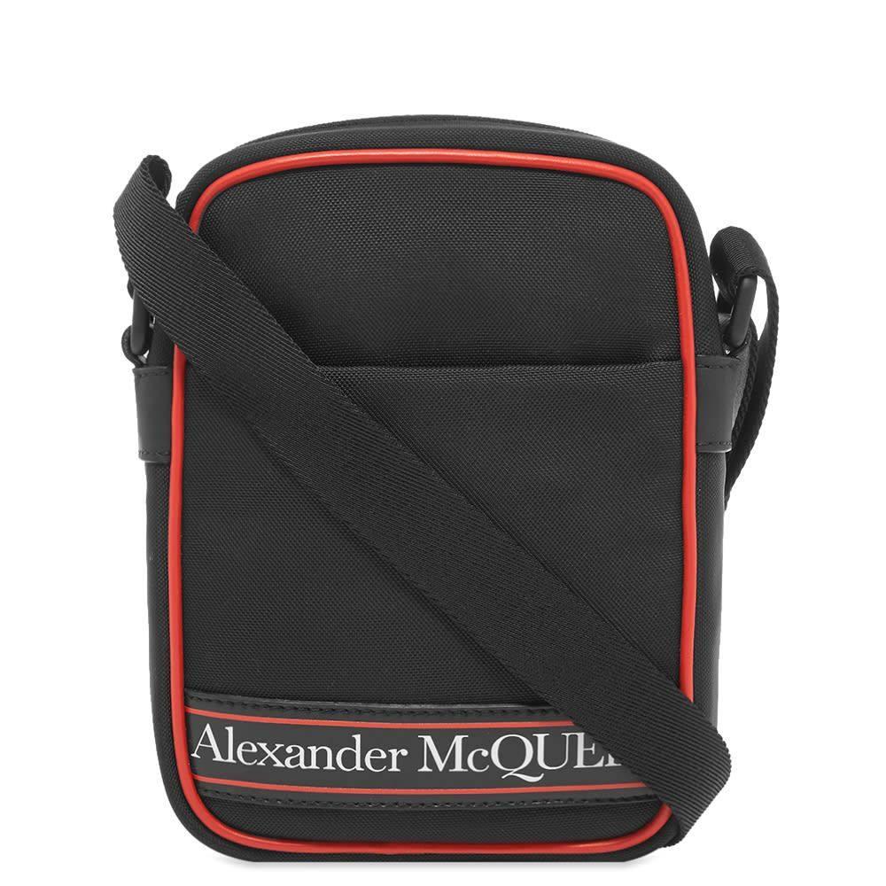 アレキサンダー マックイーン Alexander McQueen メンズ メッセンジャーバッグ バッグ【Tape Logo Mini Messenger Bag】Black/Red