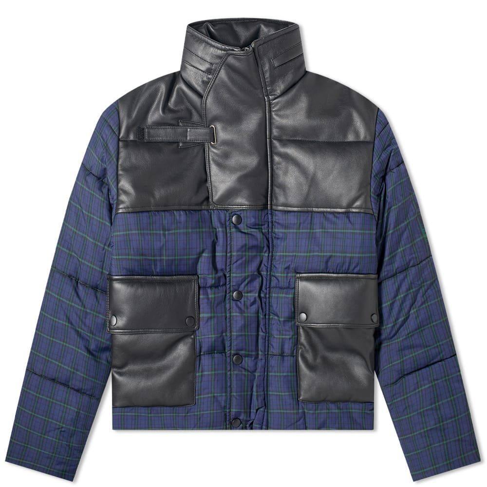 ジーアール ユニフォーマ GR Uniforma メンズ アウター 【GR-Uniforma Check Nylon & Synthetic Leather Puffer Jacket】Black Check