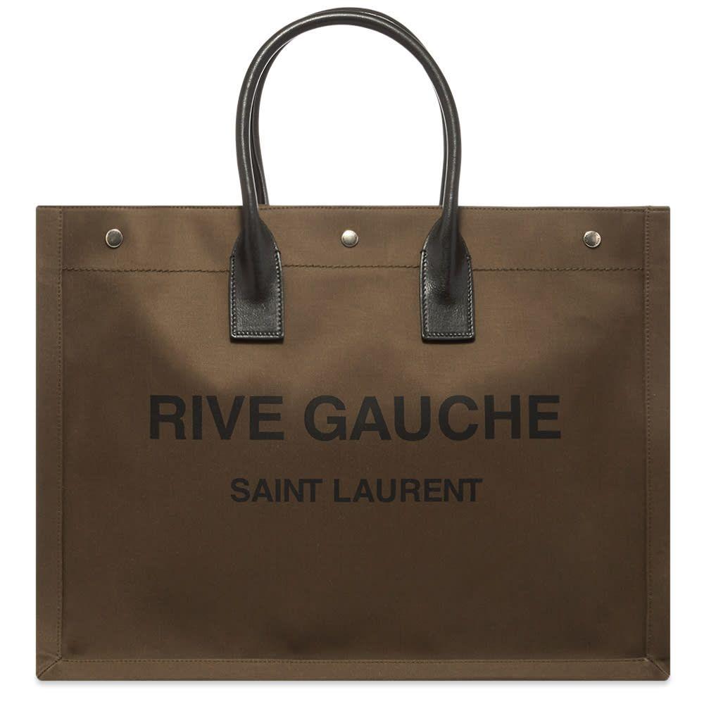 イヴ サンローラン Saint Laurent メンズ トートバッグ バッグ【Rive Gauche Tote Bag】Khaki/Black