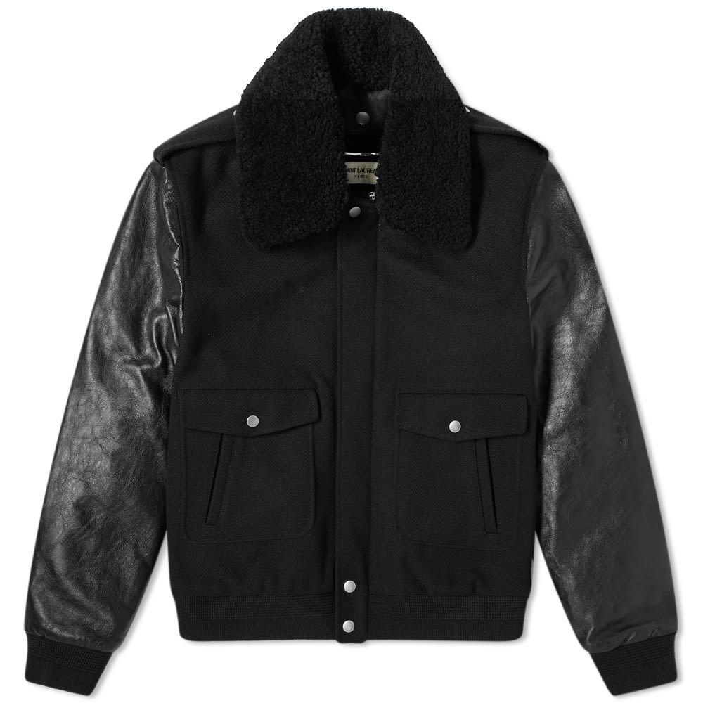 イヴ サンローラン Saint Laurent メンズ ジャケット アビエイター シアリング アウター【Teddy Shearling Aviator Jacket】Black