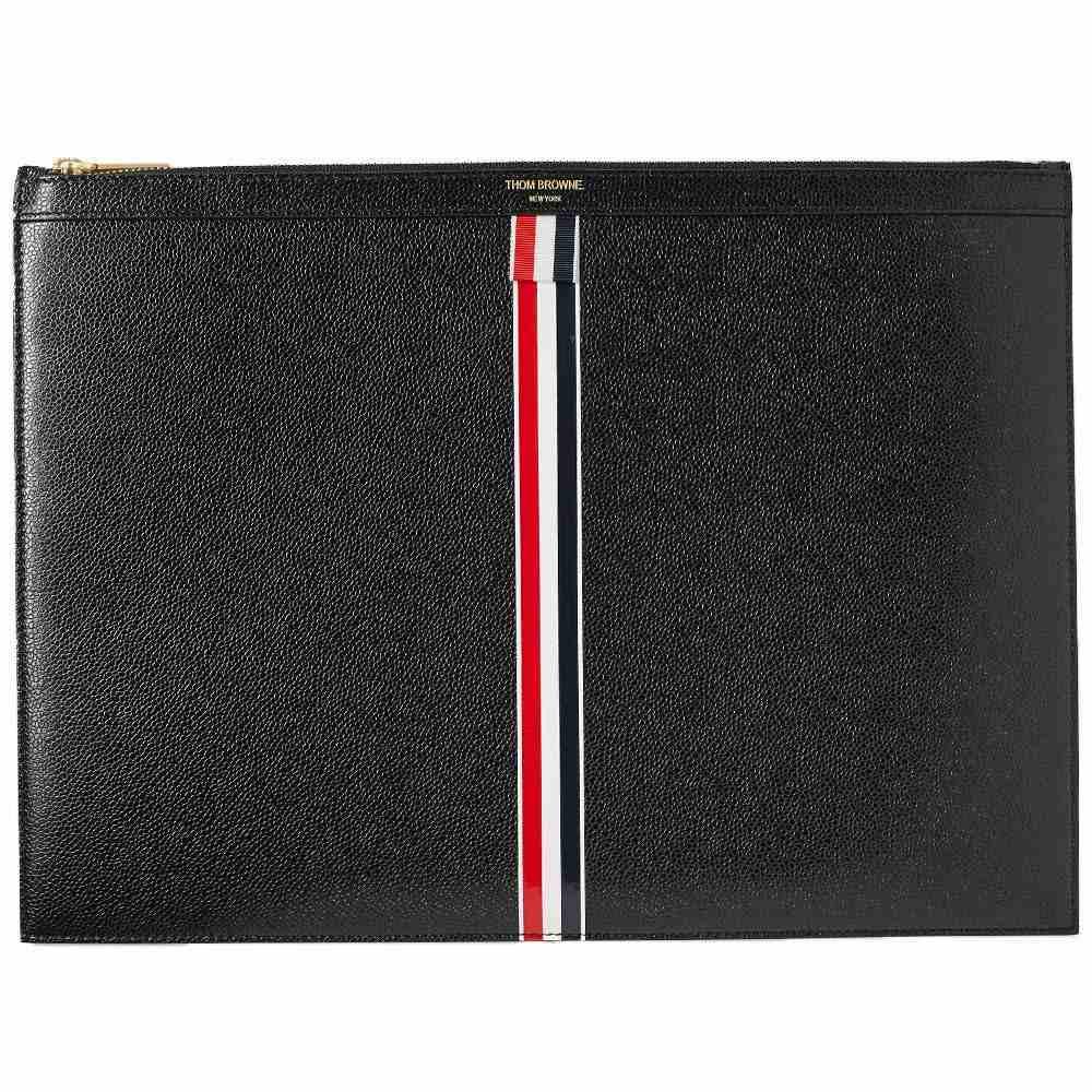 トム ブラウン Thom Browne メンズ パソコンバッグ バッグ【Large Zip Stripe Laptop Holder】Black Pebble Grain