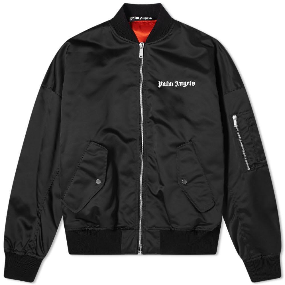 パーム エンジェルス Palm Angels メンズ ブルゾン ミリタリージャケット アウター【Oversized Logo Bomber】Black