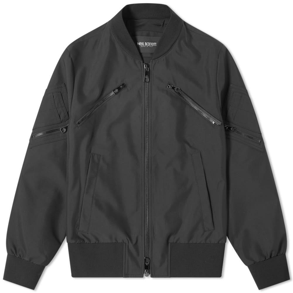 ニール バレット Neil Barrett メンズ ブルゾン ミリタリージャケット アウター【Tonal Multi Zip Nylon Bomber Jacket】Black