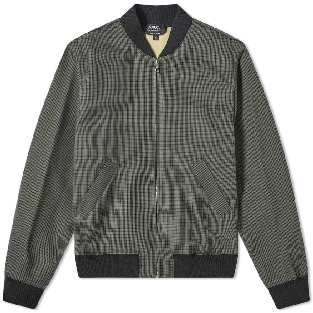 アーペーセー A.P.C. メンズ ブルゾン ミリタリージャケット アウター【Gaston Checked Bomber Jacket】Green Check