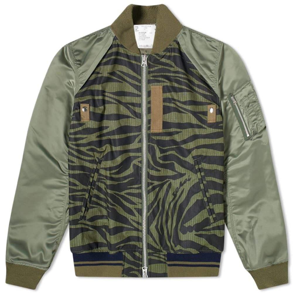 サカイ Sacai メンズ ブルゾン ミリタリージャケット アウター【Zebra Print Bomber Jacket】Khaki/Black