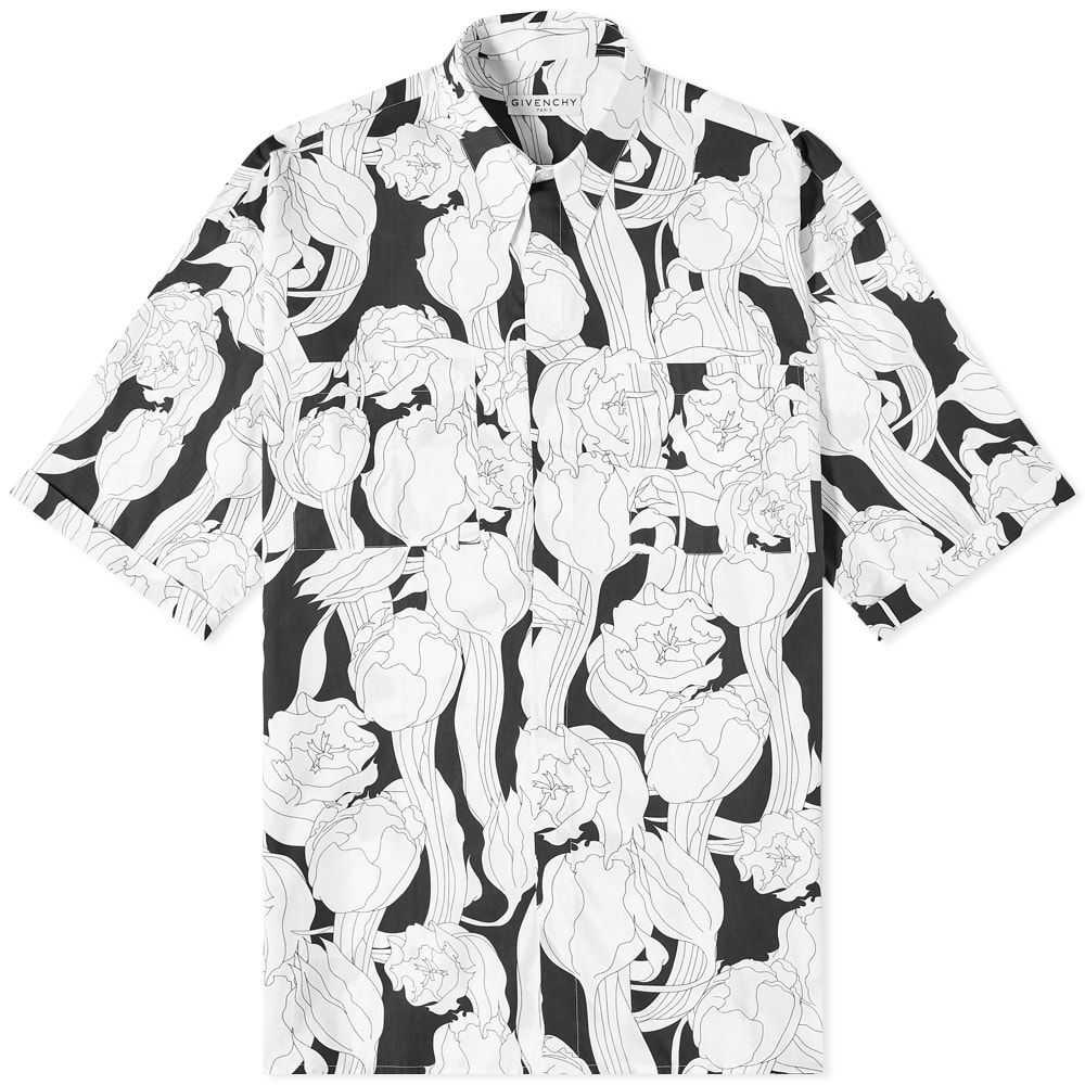 ジバンシー Givenchy メンズ 半袖シャツ トップス【Jungle Flower Print Short Sleeve Shirt】Black/White